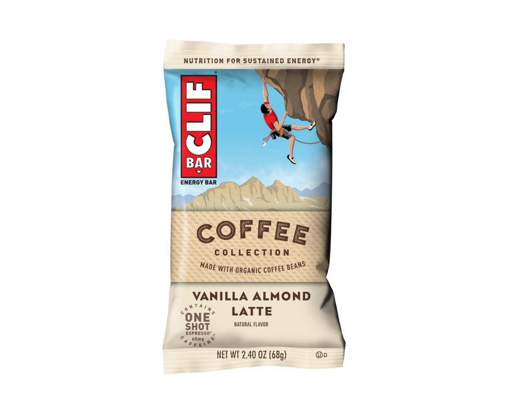 Front of Coffee vanilla almond latte Clif Bar showing a person climbing up the side of a clif