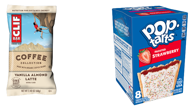 Images of the front of packages Clif bar from above and strawberry pop tarts